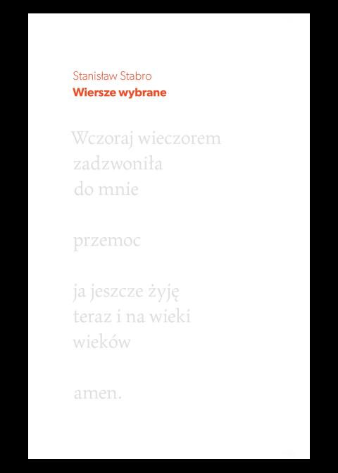 """Okładka książki """"Stanisław Stabro. Wiersze wybrane"""""""
