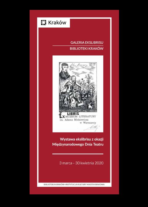 """Okładka katalogu """"Wystawa ekslibrisu zokazji Międzynarodowego Dnia Teatru"""""""